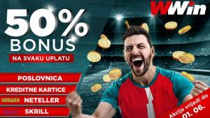 Wwin BONUS - 50% Bonusa na svaku uplatu do 01. 06.