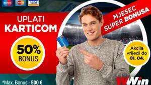 Mjesec Super Bonusa - 50% bonusa na sve uplate karticama (Maestro, Master, VISA)