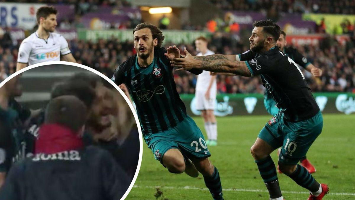 Swanseaov sakupljač lopti u centru pažnje tokom slavlja igrača Southamptona