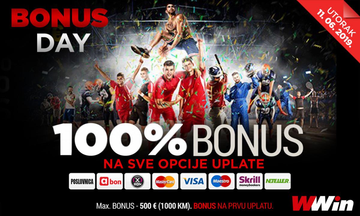 Bonus day u poslovnicama WWin - 100% bonusa na sve opcije uplate danas