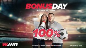 Bonus day WWin - 100% bonusa na sve opcije uplate - Nedjelja, 11. 04.