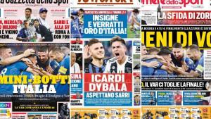 """Naslovnice štampe na Apeninima: """"Poduhvat u Torinu"""", """"Mali preokrenuli protiv Džeke""""..."""