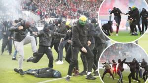 Zastrašujući snimci stižu iz srca Evrope: Huligani se mlate na terenu, igrači stoje i gledaju!