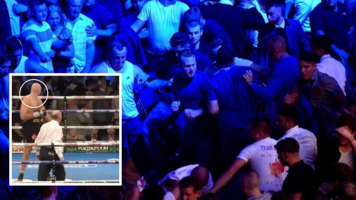 Čak je i Fury usred borbe stao da odgleda pravu tuču pored ringa