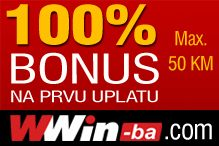 Bonus 100% na iznos prve uplate - wwin-ba.com