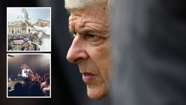 Čak i na govoru pape u Vatikanu navijači su tražili Wengerov odlazak