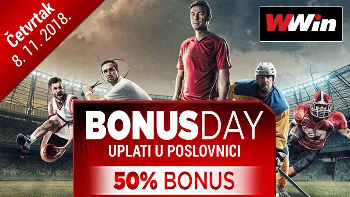 Bonus day u poslovnicama WWin - 50% bonusa na sve uplate u tom danu