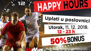 Wwin vas danas nagrađuje Happy hours bonusom