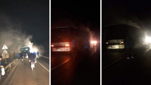 Zapalio se autobus s fudbalerima Radnika iz Bijeljine
