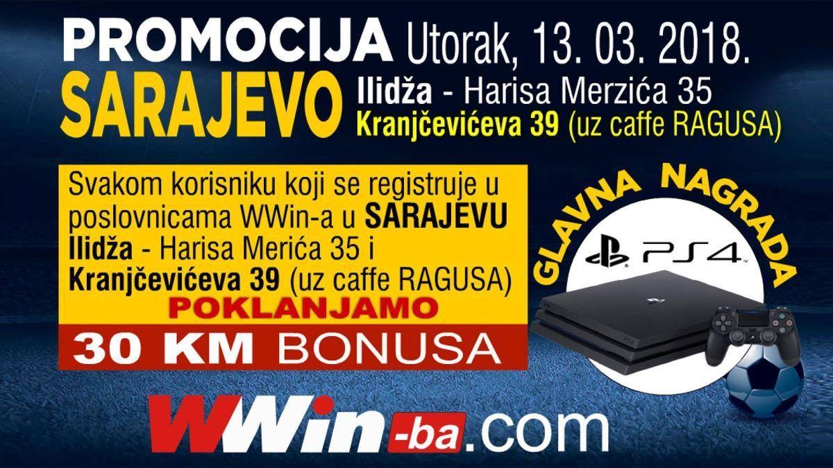 Registrujte se danas u odabranim Wwin poslovnicama u Sarajevu i preuzmite 30KM bonusa