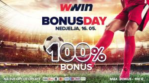 Bonus day WWin - 100% bonusa na sve opcije uplate - Nedjelja, 16. 05.