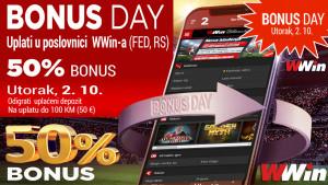 Danas Bonus day u poslovnicama WWin - 50% bonusa na sve uplate