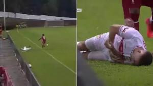 Gomez bezobrazno gurnuo igrača Stuttgarta u reklame i slomio mu lakat lijeve ruke