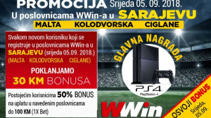 Registrujte se u Wwin poslovnicama u Sarajevu i osvojite Play Station 4, kao i vrijedne bonuse