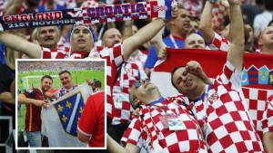 Zastava s ljiiljanima na tribinama na meču Engleske i Hrvatske